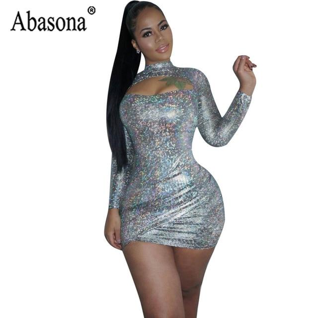 f64c26f42aa1 Abasona Sexy Open Chest Sequin Dress Women Long Sleeve Bodycon Wrap Mini Dress  Female Silver Half Turtleneck Night Club Dresses