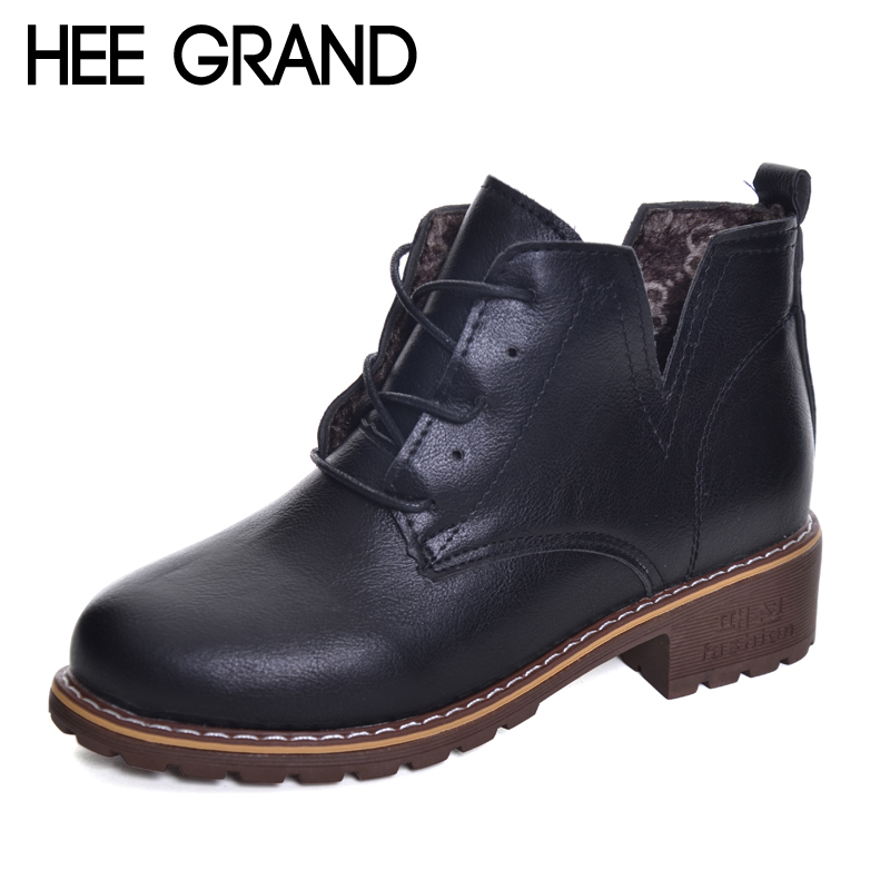 HEE GRAND Women Fashion Shoes Round Toe Ankle Boots Lace-up Women Autumn and Winter Boots XWX6134 100g food grade l theanine powder anti anxiety soothing mood calm the nerves