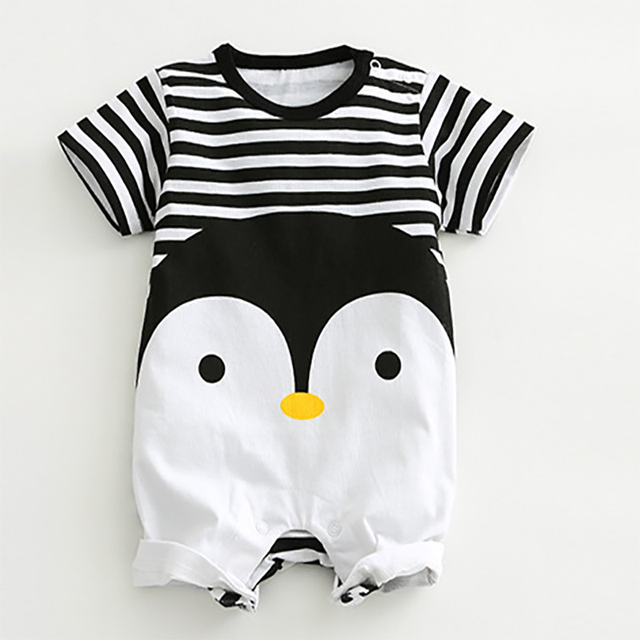 17a8e7a5463 2018 Baby Rompers Summer Lovely Baby Boy Girl Clothing Newborn Infant  Penguin Short Sleeve Clothes baby