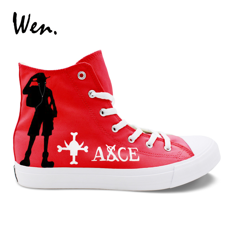 Wen chaussures vulcanisées peintes à la main une pièce Portgas D Ace Luffy chapeau Graffiti baskets rouge peinture toile laçage plat