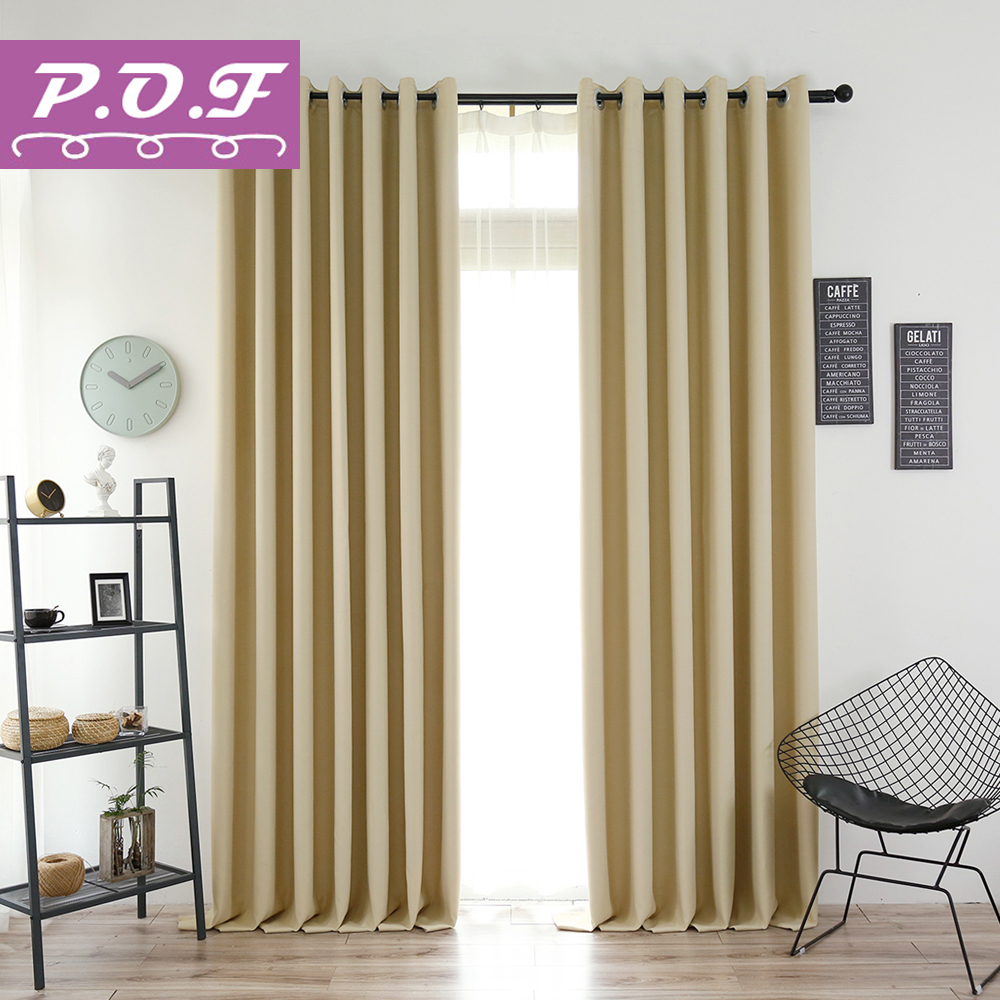 P O F Curtains For Living Room Two Sided Matte Solid Color Blackout Curtain Simple Modern Window