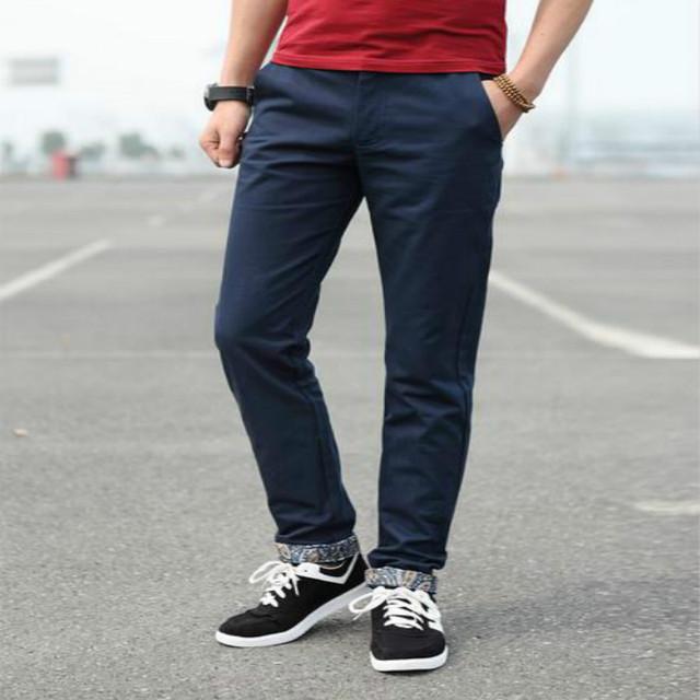 Frete grátis 2015 de algodão masculino calças magros plus size calças de roupas