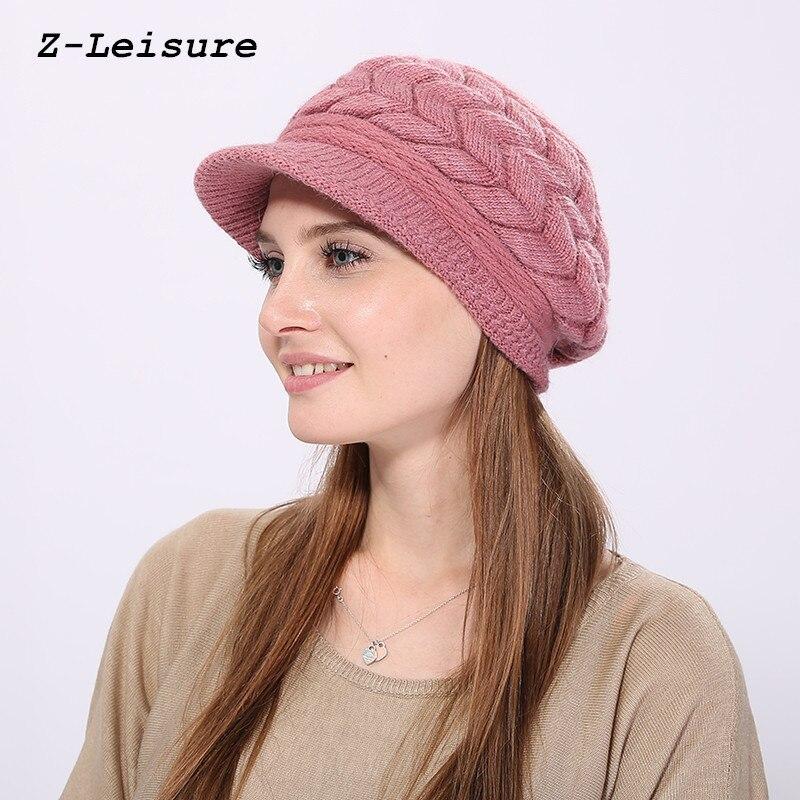 Women Skullies Caps Bonnet Femme Snapback Wool Warm Hat 2017 Winter Beanies Knit Women's Hat Winter Hats For Women KC119