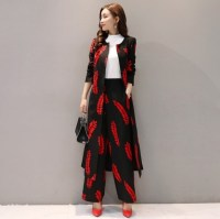 2 Pieces Set Elegant Floral Print Formal Pant Suit Women Work Wear Uniform Style Business Casual Trench with Loose Wide Leg Pant