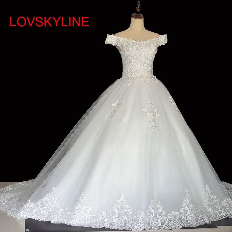 2018 bride wedding dress long trailing sweet princess married plus size slim Ivory Wedding Dress High