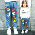 2017 New Children Cartoon Printed Girls Jeans Casual Mouse Pants Baby Hollowed Fashion Trousers Child Girl Clothes 0207