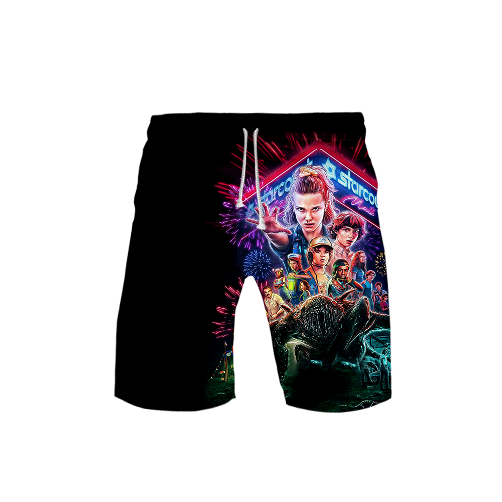 Stranger Things Season 3 Beach Board Shorts Casual Men Shorts Stranger Things 3D Print Child Beach Casual Shorts
