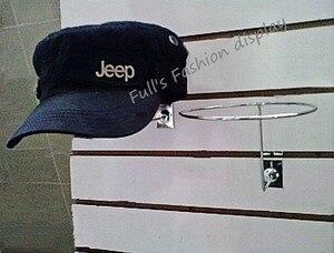 Image 2 - 무료 배송 뜨거운 판매 금속 교수형 모자 랙 그루브 보드 모자 브래킷 가발/공/모자 디스플레이 스탠드 랙 20 pcs
