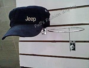 Image 2 - Free shipping hot sale Metal hanging hat rack groove board cap bracket  wig / ball / hat display stand rack 20pcs