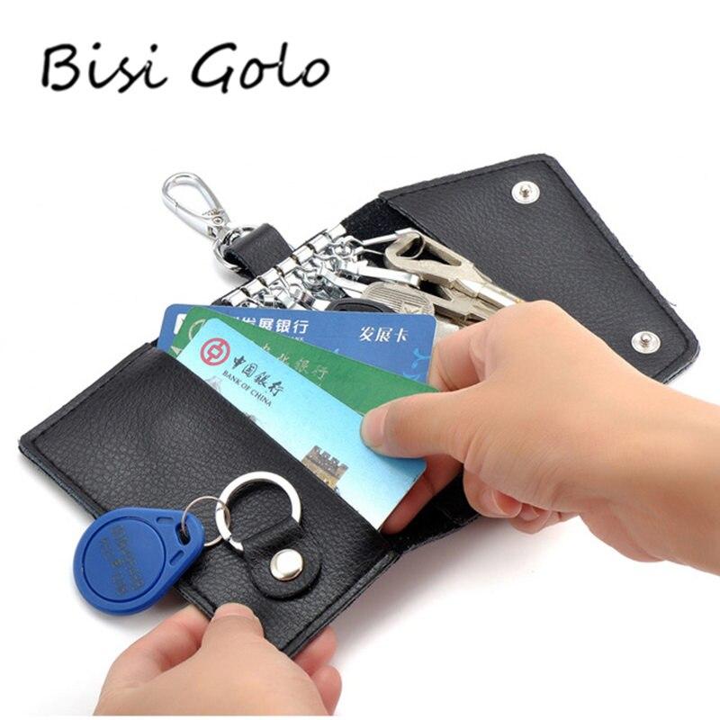 BISI GORO Marke Autoschlüssel Halter 2018 Vollrindleder Männer & frauen Autoschlüssel Tasche Brieftasche Multi Funktion Mini Key Case mode