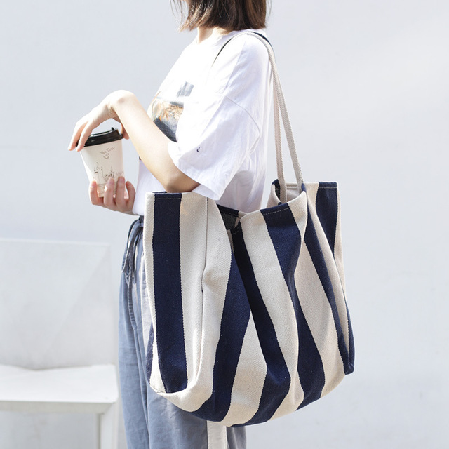 Women Canvas Large Shopping Bag Fashion Striped Cloth Reusable Tote Bag Leisure Shoulder Large Capacity Eco Shopper Bags 2