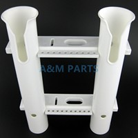 Boat Plastic Fishing Rod Holder 2 Tube PP Fishing Rod Holder Rack 2 Socket White