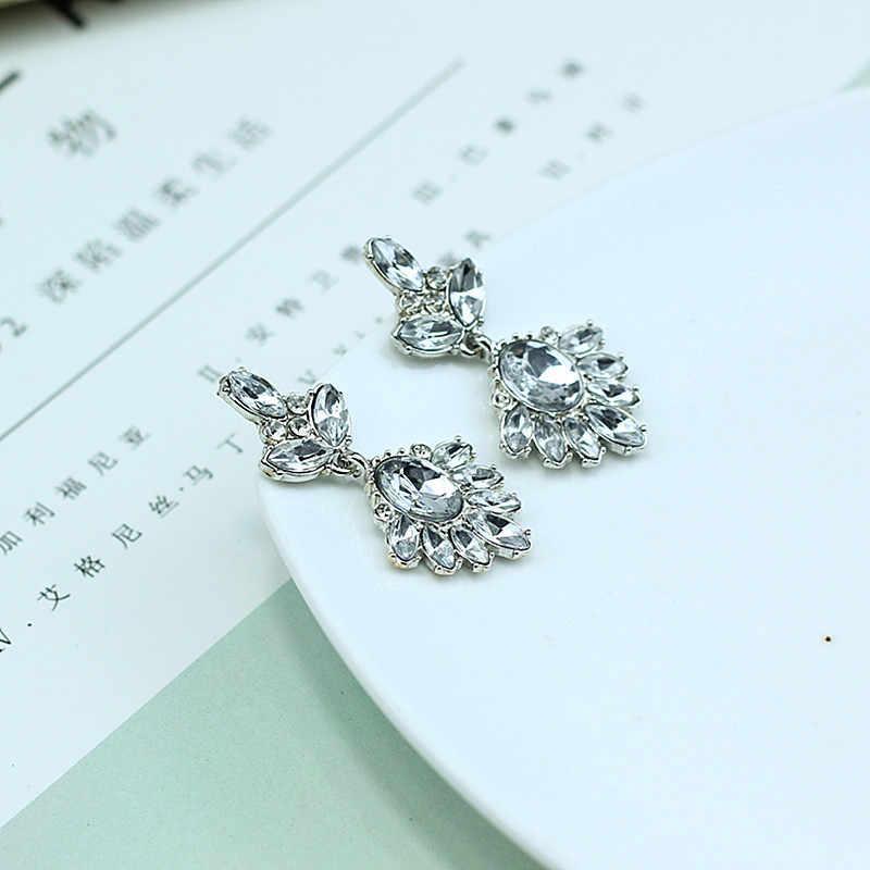 Mode femmes boucles d'oreilles en cristal longues boucles d'oreilles en alliage doux métal avec des pierres précieuses boucle d'oreille pour les filles e0244