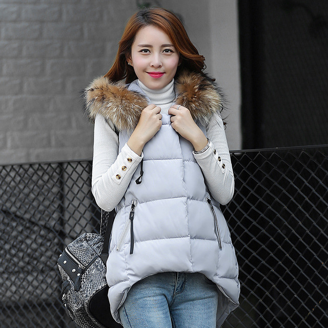 Women Winter Vest Waistcoat 2016 Womens Long Vest Sleeveless Jacket Faux Fur Collar Hooded Down Cotton Warm Vest Female 0803-67E