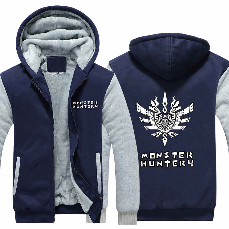 Мужские зимние куртки Monster Hunter 4 черный костюм дракона толстовка с капюшоном игры толстый кардиган на молнии флисовые толстовки США размер