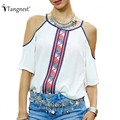 TANGNEST 2017 Summer Women Casual Sexy National Style Spaghetti Strap Off Shoulder T Shirts Short Sleeve O-Neck Tops WTS858