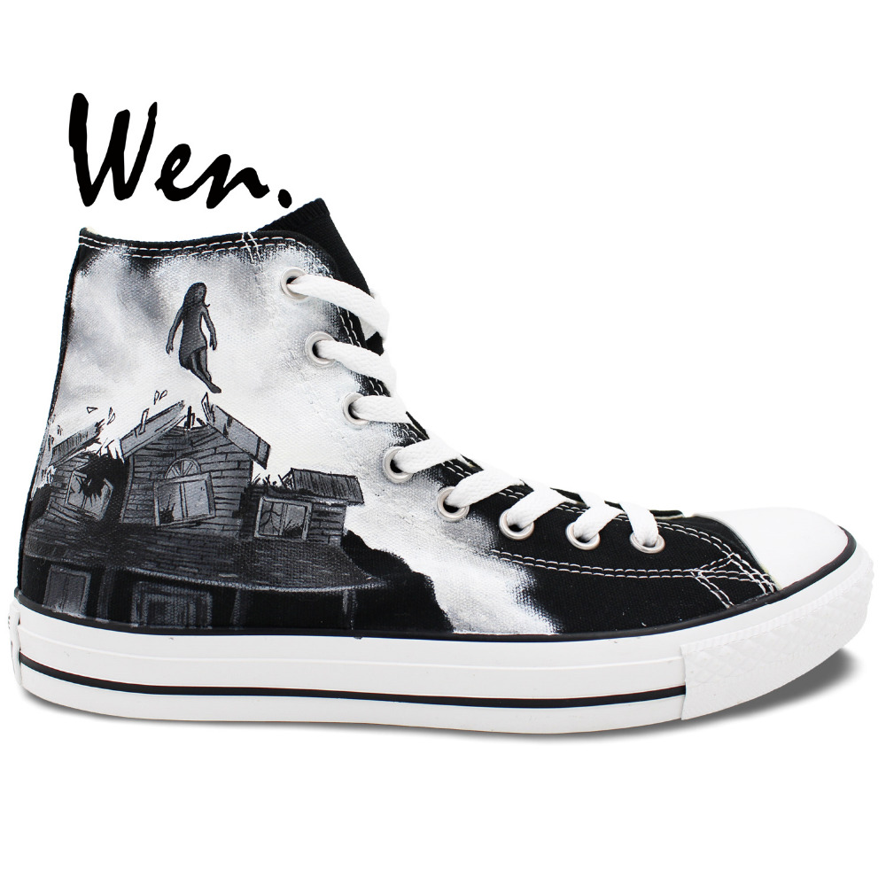 Wen Unique Customized Hand Painted Athletic Shoes Slogan PIERCE THE VEIL High Top Black Upper Canvas Sneakers for Women Men