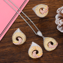 Siscathy 2019 Charms Cubic Zircon Indian Dubai Wedding Bridal Jewelry Set For Women Fashion Necklace/Ring/Earrings Jewelry Set цена