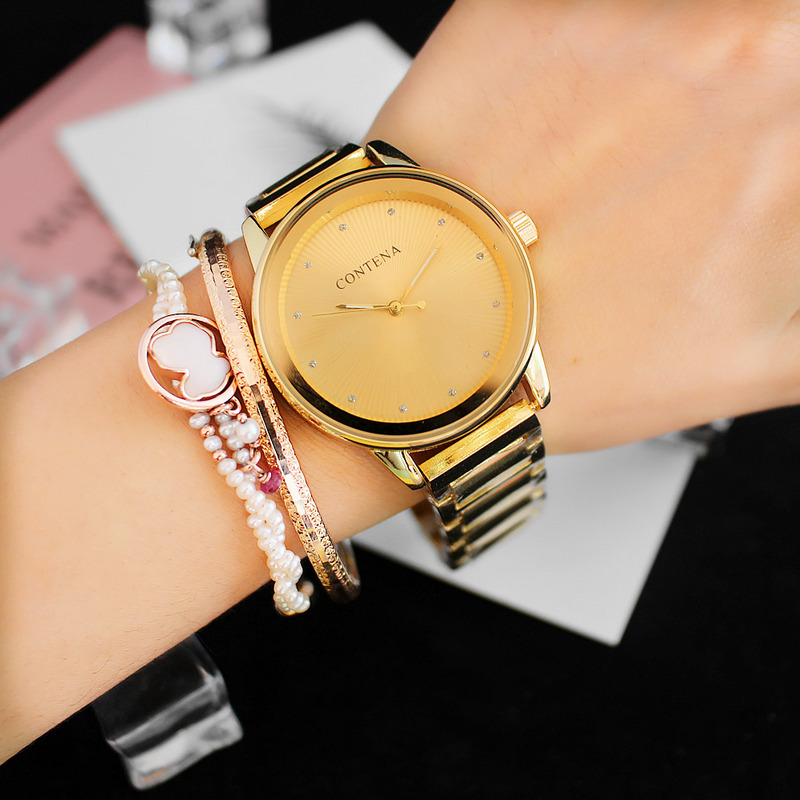 6056Y Contena New Luxury Geneva Dress Watches Fashion Golden Business Wristwatch a Ladies Gift Elegant Women Quartz-watch
