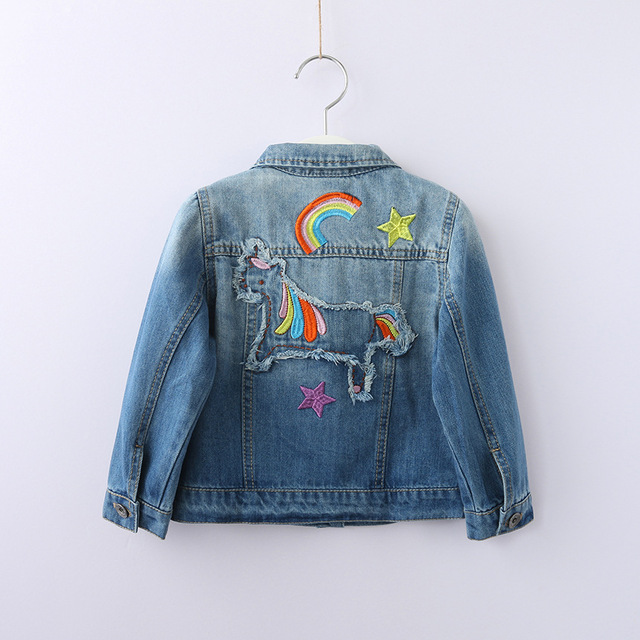 290d00f73de3 Girl Denim Jacket Cartoon Horse Rainbow Embroidery Ripped Kids Jean Coats  Children Jacket Single Breasted Girl Jackets Outerwear