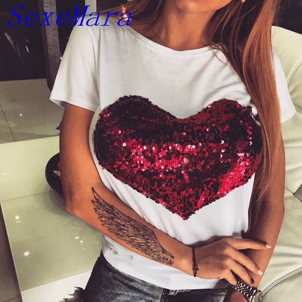 2017 fashion t shirt women casual red heart sequined patch. Black Bedroom Furniture Sets. Home Design Ideas