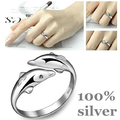 100% Genuine 925 Sterling Pure Silver Ring Dolphin Women Ring.Real Pure Silver Ring TOP Quality 10 Year Guarantee Jewelry
