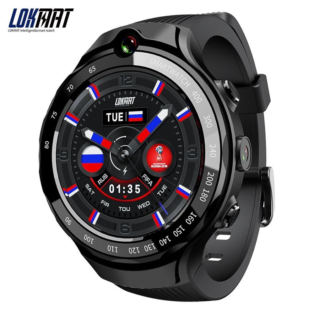 LOKMAT Lok02 4G montre intelligente hommes Android 7.1 MTK6739 1 GB + 16 GB 400*400 AMOLED écran 5MP + 5MP double caméra GPS Smartwatch pour ios