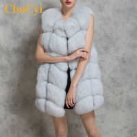 CbuCyi Women Long Fur Vest Coat Plus Size 3XL Winter Casual Sleeveless Faux Fox Fur Vest Mink Coat Jacket Women Casaco Feminino