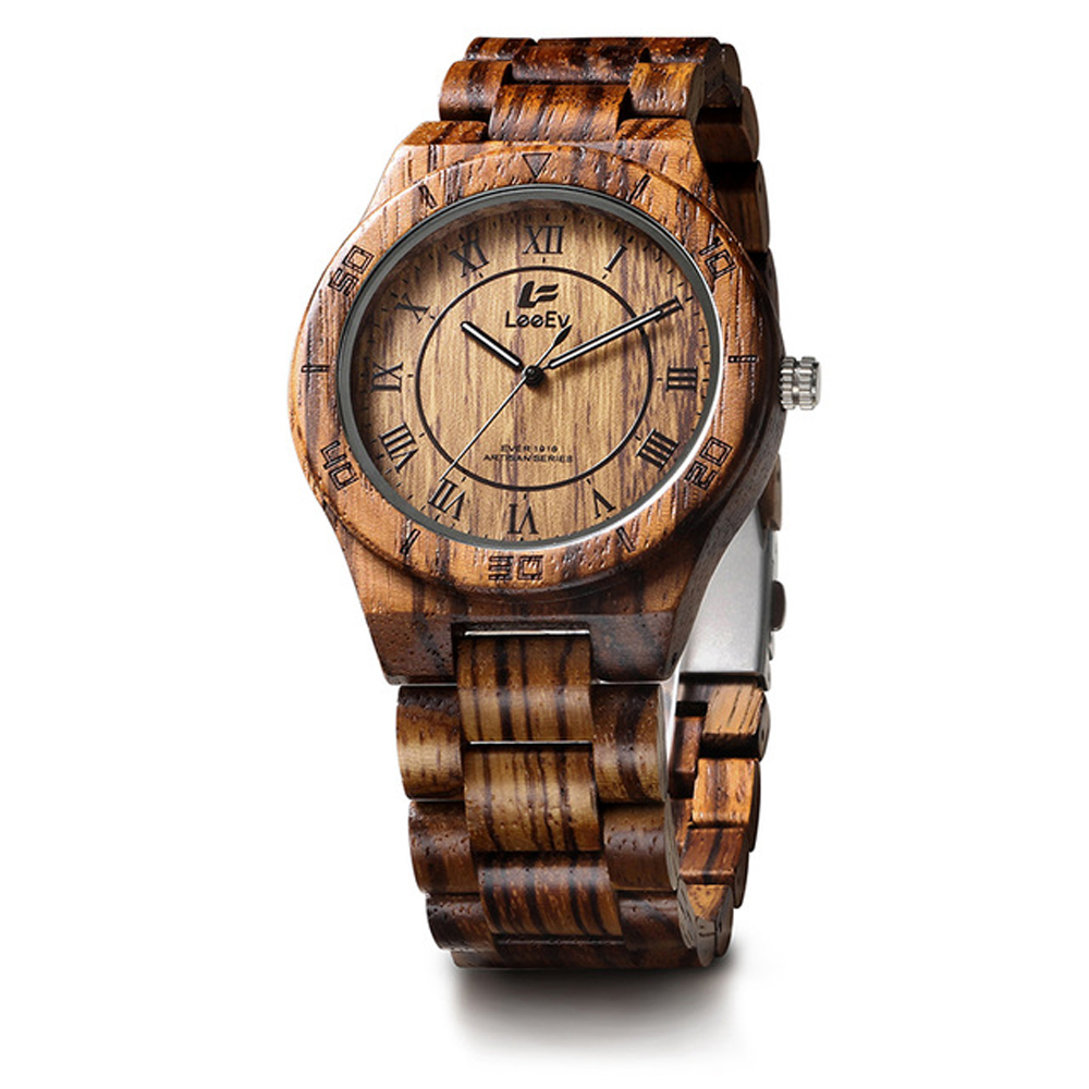 купить Luxury Gift Quartz Wooden Men's Watches Unique Zebra Sandal Wood Watch Men Luxury Casual Watch Men Famous Top Brand Wristwatch онлайн