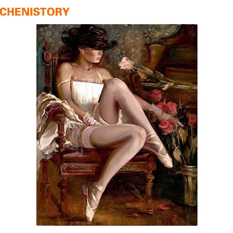 CHENISTORY Sexy Donna Pittura By Numbers FAI DA TE Pittura A Olio Astratta Complementi Arredo Casa della Tela di Canapa Pittura Ornamento Immagine di Arte Della Parete 40x50