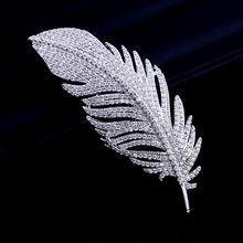 Bridal Fashion Cubic Zircon Micro Paved Elegant Feather Brooch Pin Women Wedding Jewelry Pendant  001556
