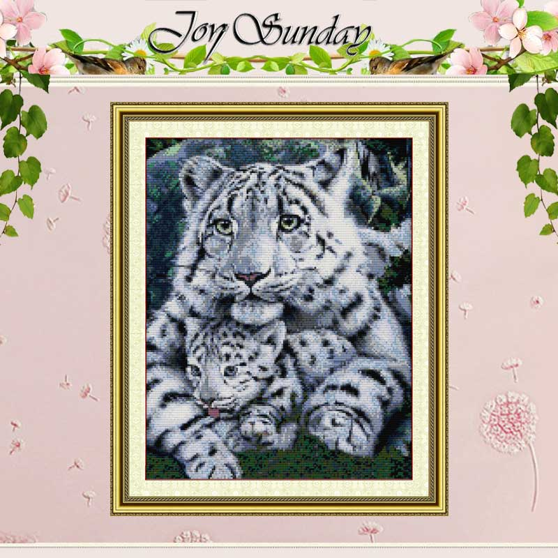 Tiger Care Painting Telt Cross Stitch 11CT 14CT Cross Stitch Dyr Cross Stitch Kit for Broderi Home Decor Needlework