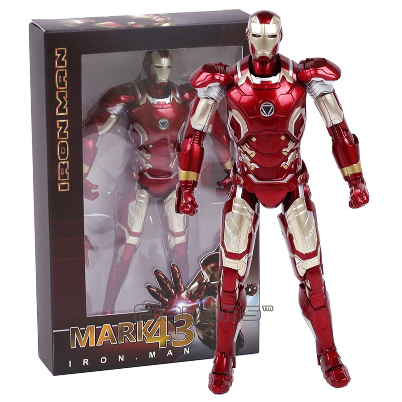 Avengers Iron Man Mark 43 MK XLIII PVC Action Figure Collectible Model Toy with LED Light 7inch 18cm marvel iron man mark 43 pvc action figure collectible model toy 7 18cm kt027