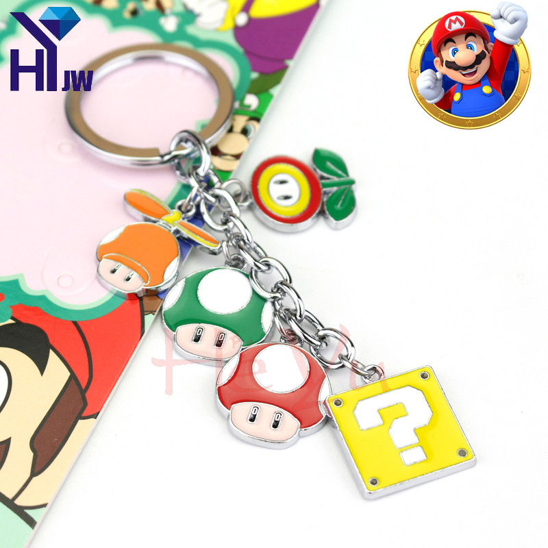 Super Mario Bros Figure Toys Metal Alloy Keychain Mario Luigi Mushroom Key Pendants Key Ring Jewelry For Children Gift
