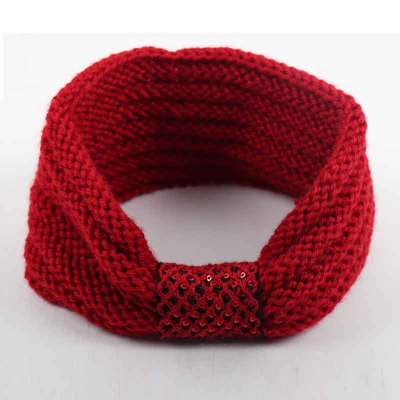 Fashion Handmade Knitted Headband With Center Sequins Autumn Winter Warm Ear Elastic Hairband For Women Hair Accessories