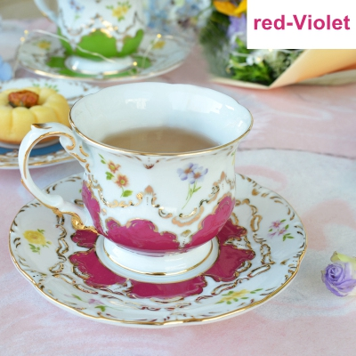 Exquis Court Reliefs tasse à café porcelaine bord doré cappuccino tasse ensemble français après-midi thé tasse en céramique avec poignée + plat