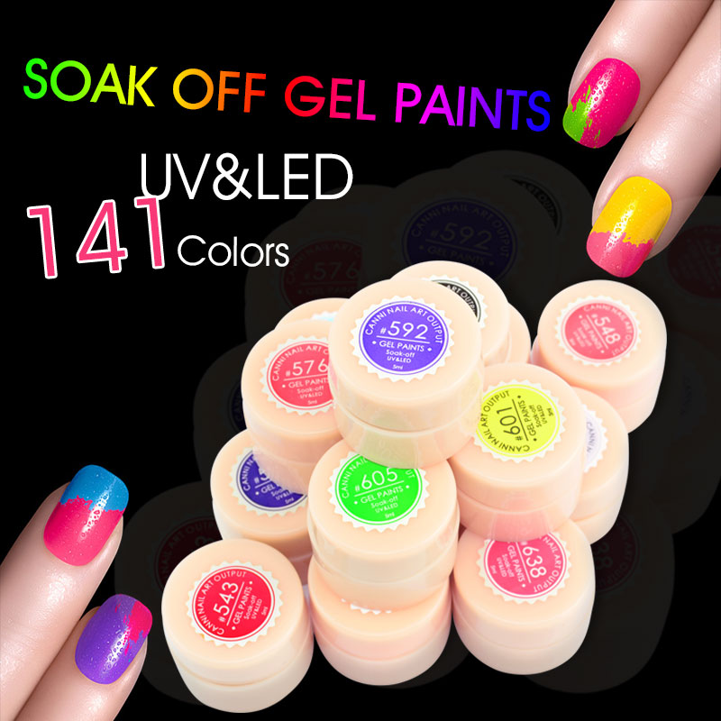 50618 Canni Nail Art Gel Paint 141 Colors 5ml Jar Soak Off Uv Led Color In From Beauty Health On Aliexpress Alibaba Group