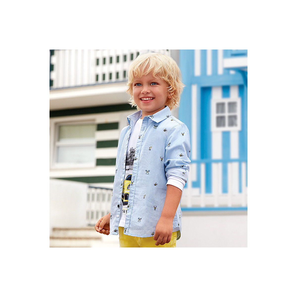 Blouses & Shirts MAYORAL 10689113 Children s Clothing shirt with long sleeve for a boy natural materials