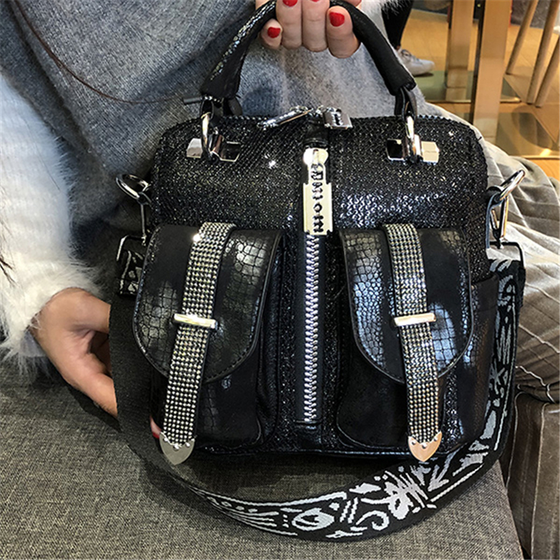 Women Crystal Shoulder Bags Black Red Silver Luxury Totes Women Zipper Leather Punk Handbags Ladies Small