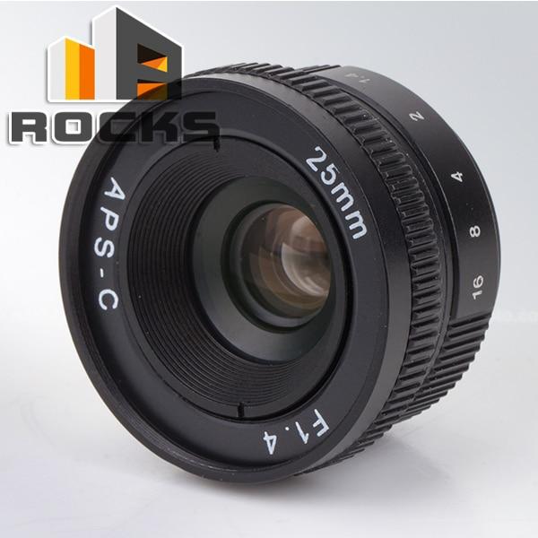 25mm F1.4 APS-C CCTV C Mount CCTV Camera Lens Black