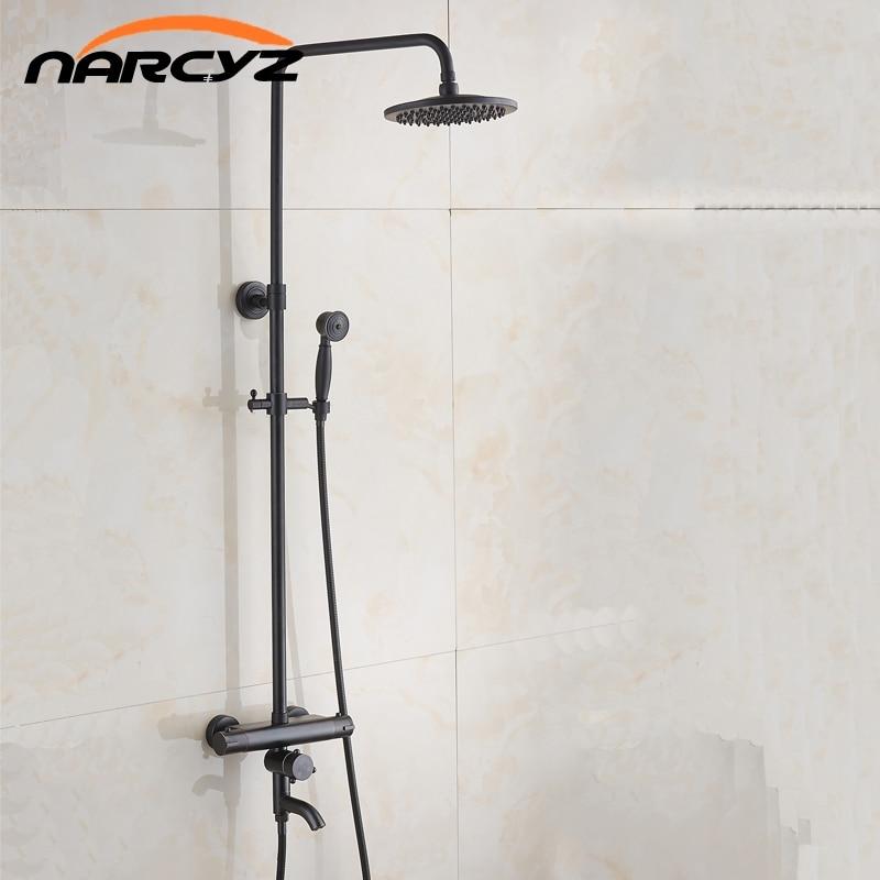 Ensemble de douche thermostatique noir thermostatique robinet de douche robinet de douche chaud et froid mitigeur de douche thermostatique XT407