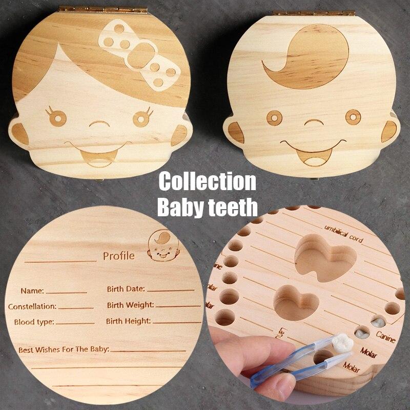 Tooth Box Organizer For Baby Save Milk Teeth Wood Storage Collecting Gifts Umbilical Cord Lanugo Creative Kid Boy In Bo Bins
