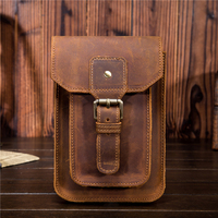 YISHEN Crazy Horse Genuine Leather Men Small Waist Pack Mobile Phone Case Casual Travel Bags Solid Vintage Men's Belt Bag 2090