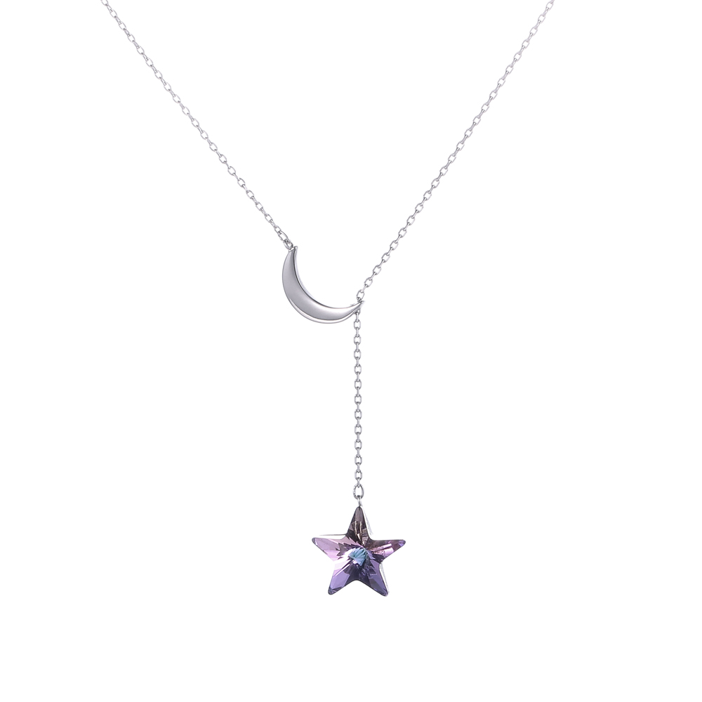 Fashion 925 Sterling Silver Moon Star Bridal Necklace Austrian Crystal Pendant Necklace For Wedding Party Fine Jewelry Gift