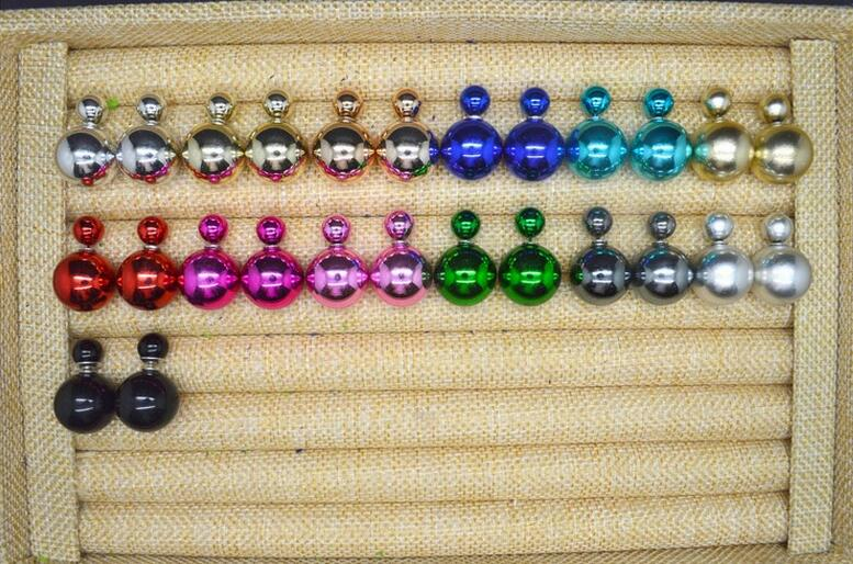 Stud Earrings ear rings Fashion for women Girls lady double side artificial pearl candy color