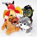 4pcs/lot Anime Cartoon Dragon Bear Animal 15cm Plush Dolls with Chain Stuffed Soft Toys Kids Gift Pendants Ring AP0085