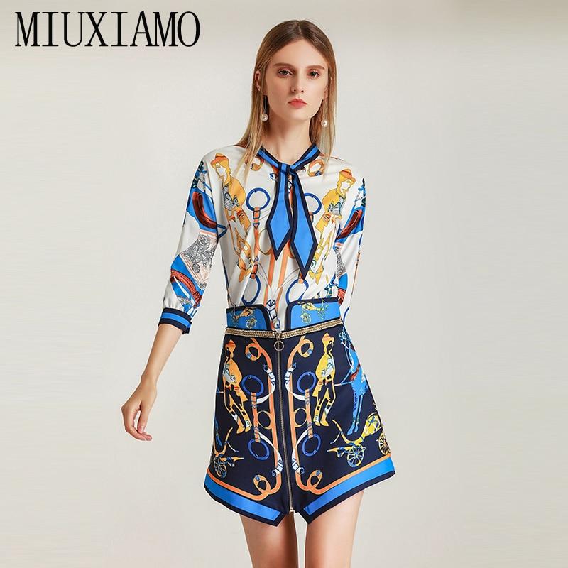 MIUXIMAO 2019 Spring Newest Style Suit Sets 2 Piece Turn-down Collar Short Sleeve Top +  Skirt Bow Diamonds jumpsuit Women
