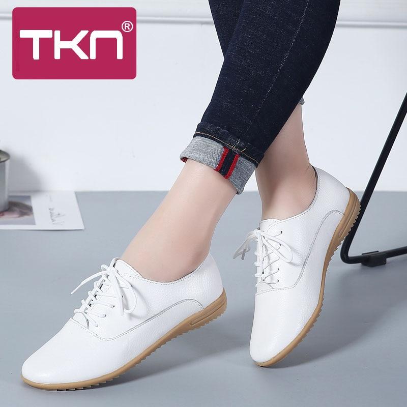 92628698 TKN 2019 primavera de las mujeres blanco pisos de Ballet de cuero genuino  encaje pisos zapatillas