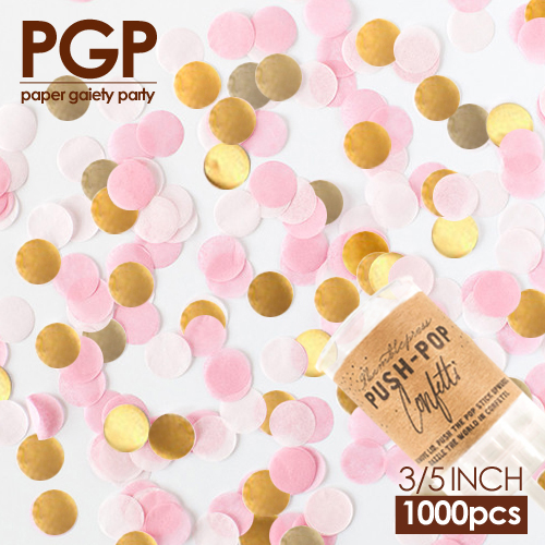 Pgp Gold Pink White Circle Tissue Paper Confetti Push Pop For Wedding Baby Bridal Shower S Kids Birthday Princess Party In Banners