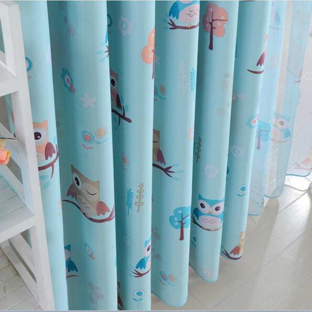 Online Shop Uil Gedrukt Blauw Geel Gordijnen voor Kinderen stof ...